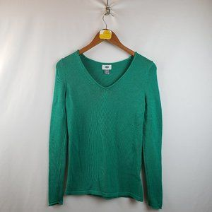 Old Navy Womens Long Sleeve V-Neck Sweater Green